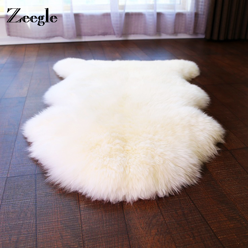 Zeegle Shaggy Rug For Living Room Imitation Pelt Carpets For Hallway Artificial Sheepskin Fluffy Chair Seat Sofa Cover Carpet