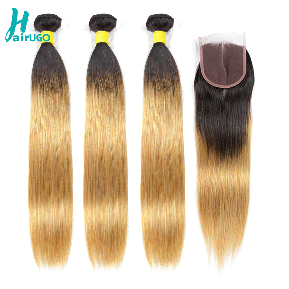 HairUGo Peruvian Straight Hair Bundles With Closure 1B/27 Ombre Honey Blonde Human Hair Bundles With Closure Remy Hair Weave