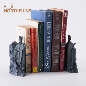 NORTHEUINS Resin The Argonath Bookend Figurines Sculpture Gate of Gondor Retro Book Stand Decoration Office Desktop Accessories image