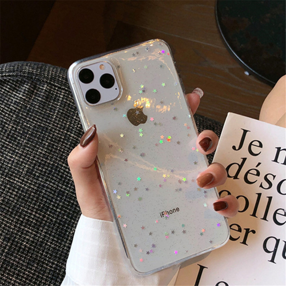 H3baf732b7cb1463b8e61f6ca6c53b495O - Ottwn Bling Stars Glitter Soft TPU Phone Case For iPhone 11 Pro X XR XS Max 7 8 6 6s Plus SE 2020 Transparent Powder Back Cover