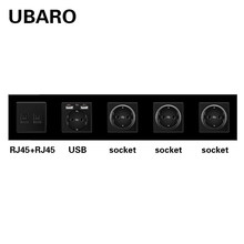 UBARO German Standard Crystal Glass Panel Wall Socket With RJ45 RJ11 TV Sigal Terminals Plug Sockets Home Outlet AC100-250V 16A