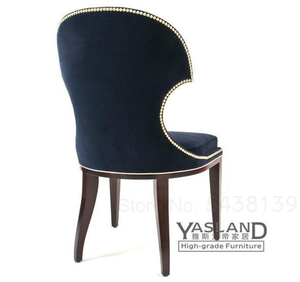 Nordic solid wood nail chair fabric dark blue dining chair American neo-classical personality creative single chair 3