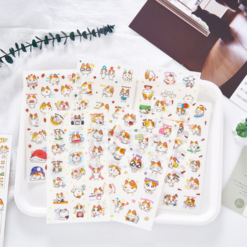 6pcs lot creative funny expression text pvc transparent korean stickers papers flakes kids decorative for cards stationery 6pcs/pack Kawaii And Funny Blossoming Cat Journal Stickers Creative Stationery Diary Stickers For Room And Children Decoration