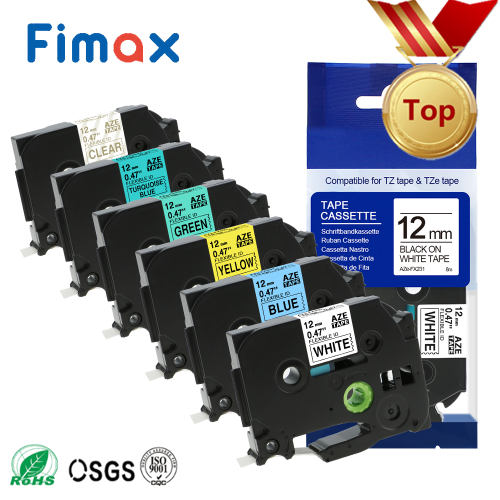 Fimax 1 Pack TZe-FX231 Tze-fx631 Compatible For Brother P-Touch TZ-FX231 TZeFX231 Black On White 12mm For Brother Flexible Tape
