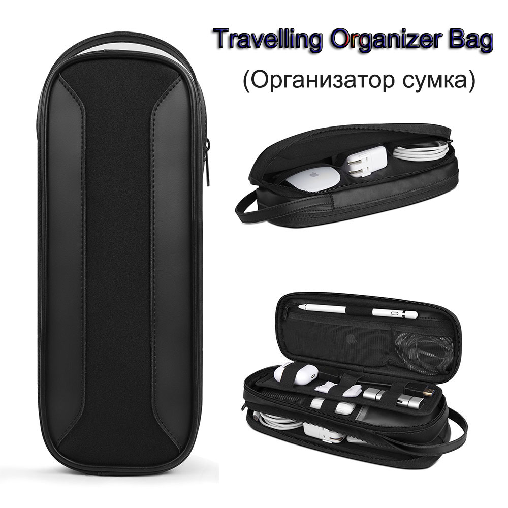 WIWU Electronic Organizer Bag Power Bank Pouch 2 layers Large Capacity Storage Bag USB Cable Charger Case Traveling Storage Bags(China)