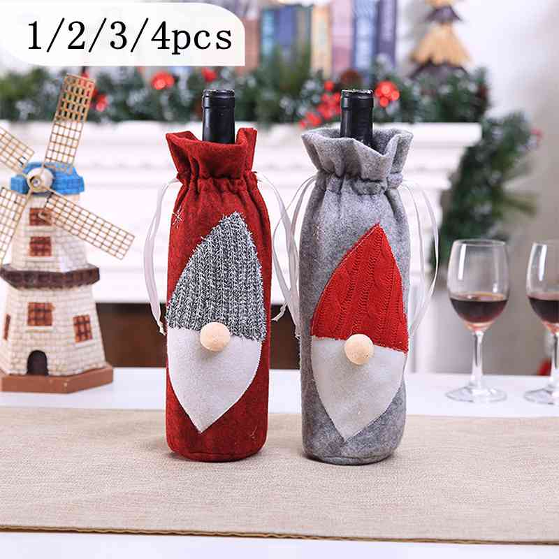 Santa Claus Wine Bottle Cover Christmas Decorations for Home New Year Xmas Decor Snowman Stocking Gift 1/3/4PCS