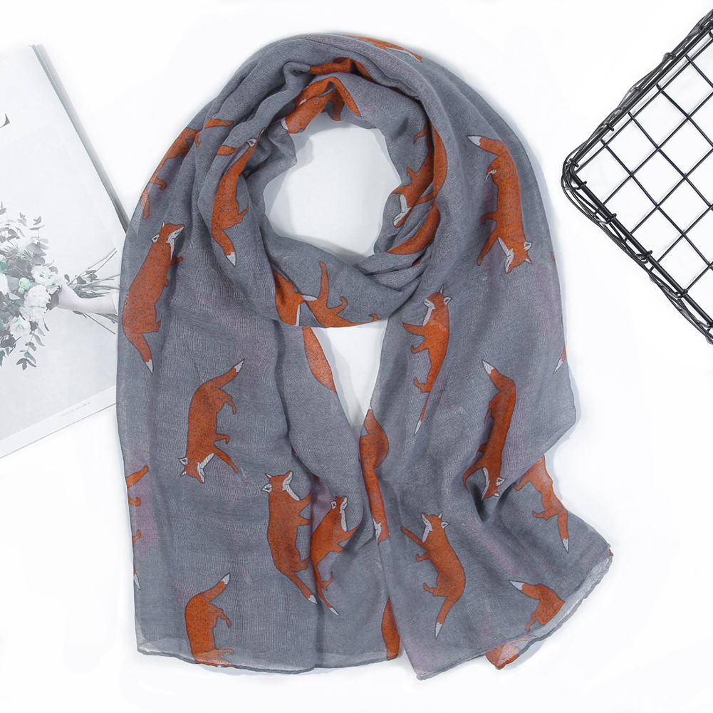Neck Warmer Fox Print Women Scarf Soft Multifunction Balinese Yarn Gift Accessories Protective Cute Elegant Portable Polyester