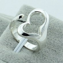 Wholesale 925 Silver Color Dual Rings Heart Shape Female Couple Jewelry Elegant Retro Party Gift Free Shipping