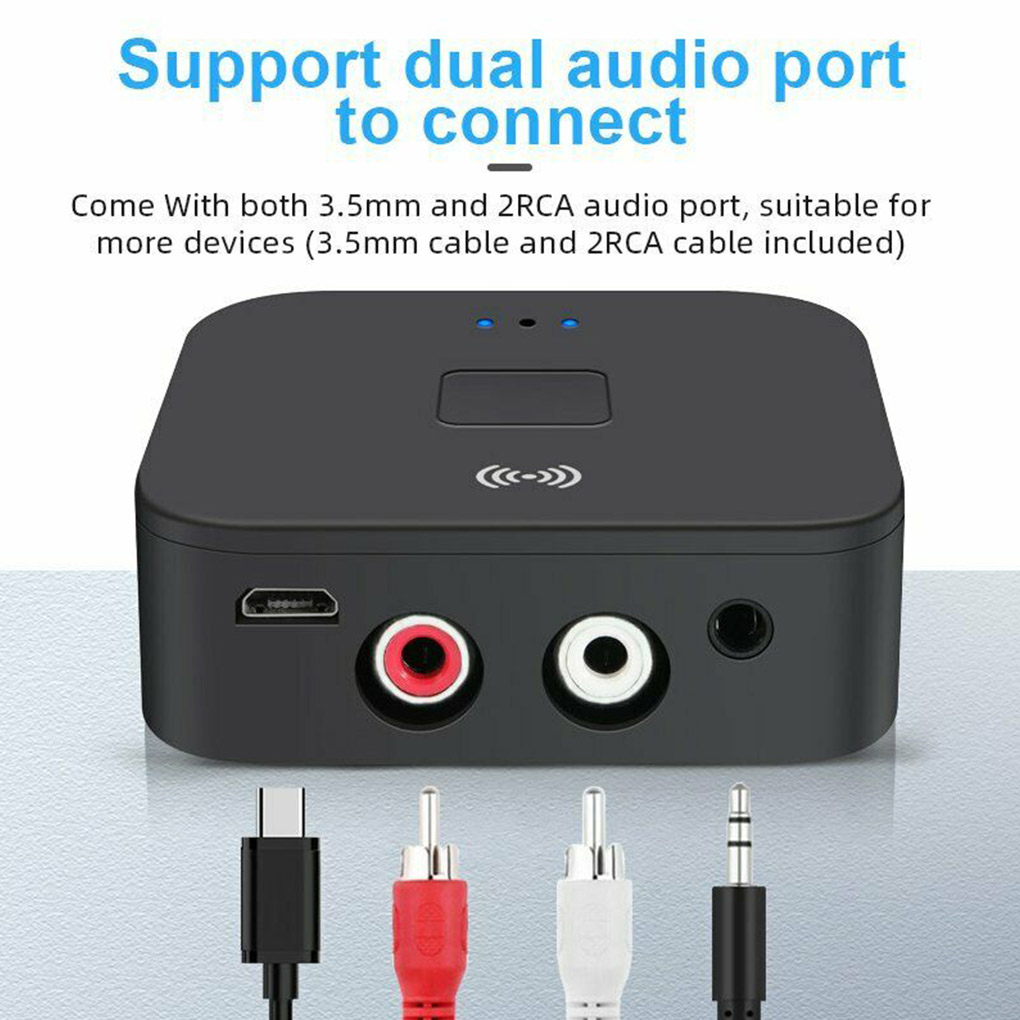 Bluetooth 5.0 RCA Audio Receiver APTX 3.5mm AUX Jack Music Wireless Bluetooth Adapter With NFC for Car TV Computer Speakers