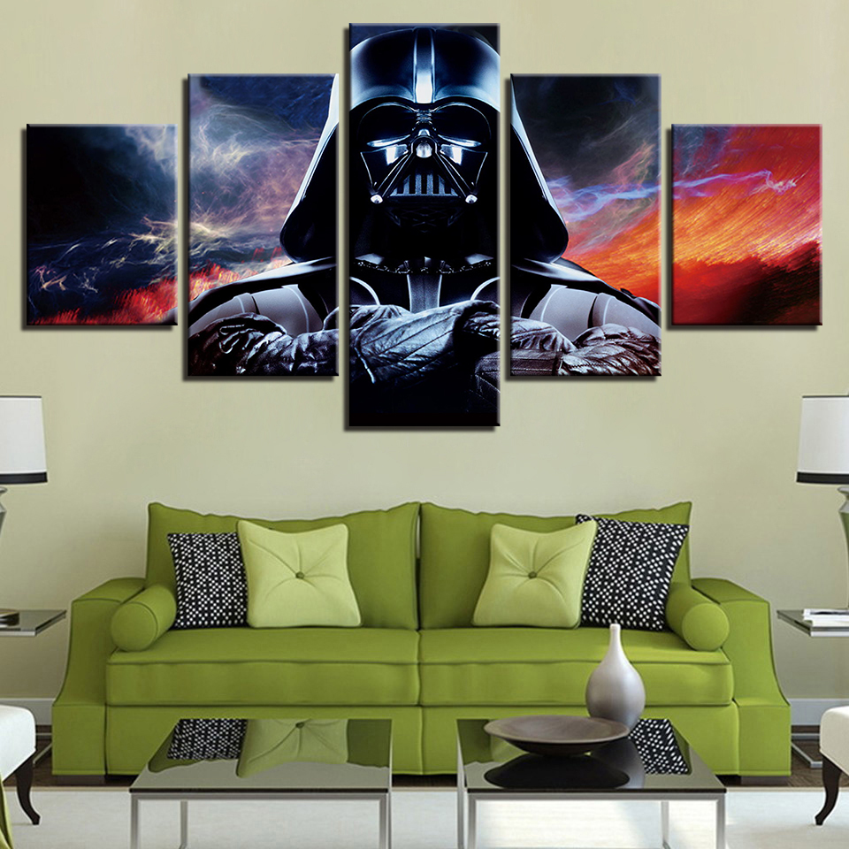 Classic Movies Stars Wars Modern Posters 3D Print Darth Vader Home Decor Canvas Painting 5 Piece Wall Picture for Living Room image