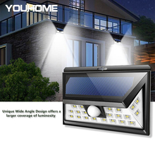 LED Solar lights Outdoor PIR Motion sensor wall lamp Waterproof Sunlight Powered for Garden Front door Garage Fence street light