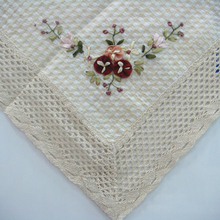 Foreign Trade Cotton Embroidered round Tablecloth, Handmade Ribbon Embroidery Rectangle Tablecloth Pastoral Oval Drape