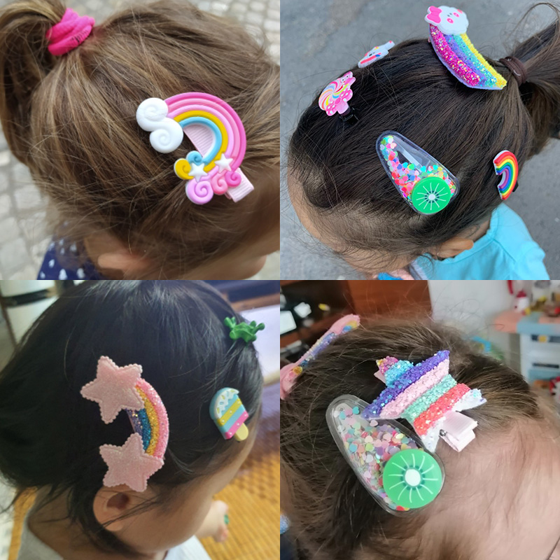 3/5pcs/Set New Girls Cute Rainbow Star Flower Hairpins Children Sweet Hair Clips Barrette Hair Ornament Fashion Hair Accessories