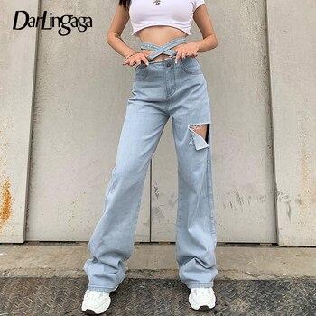 Darlingaga-Pantalones rasgados de cintura alta para Mujer, vaqueros con botones y hojas cruzadas, a la moda