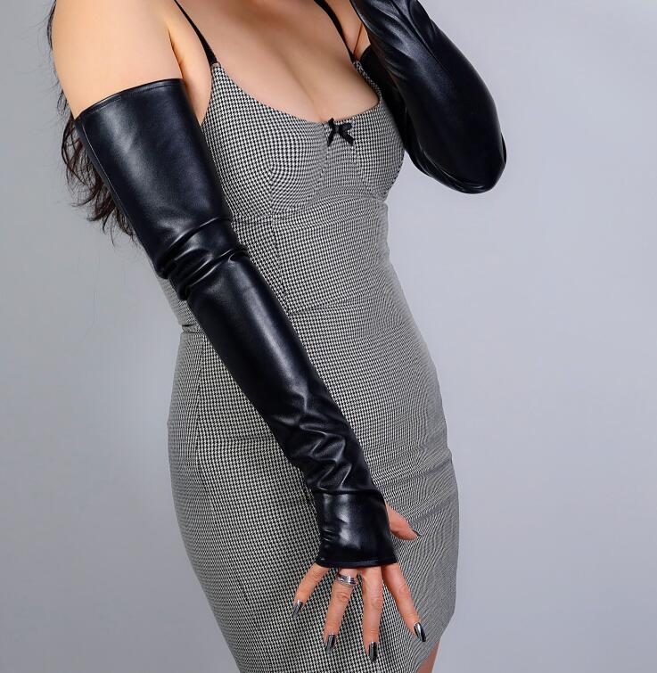 Women's Sexy Slim Faux Pu Leather Fingerless Glove Lady's Club Performance Formal Party  Leather Long Glove 60cm R2699