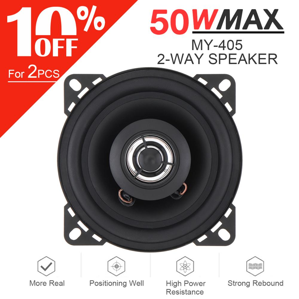 1pcs 4 Inch 10mm <font><b>50W</b></font> 2-Way Car HiFi Coaxial <font><b>Speaker</b></font> Vehicle Door Auto Audio Music Stereo Full Range Frequency <font><b>Speakers</b></font> For Cars image