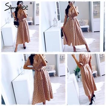Simplee Polka dot women wrap dress Elegant puff sleeve a line v neck sash party dress Wrap work wear streetwear retro maxi dress 4