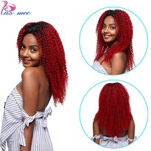 Kiss Mee 4*4 Lace Closure Remy Wig Long Red Human Hair Lace Front Wig Ombre Red Mongolian Kinky Curly Hair Wigs For Black Women