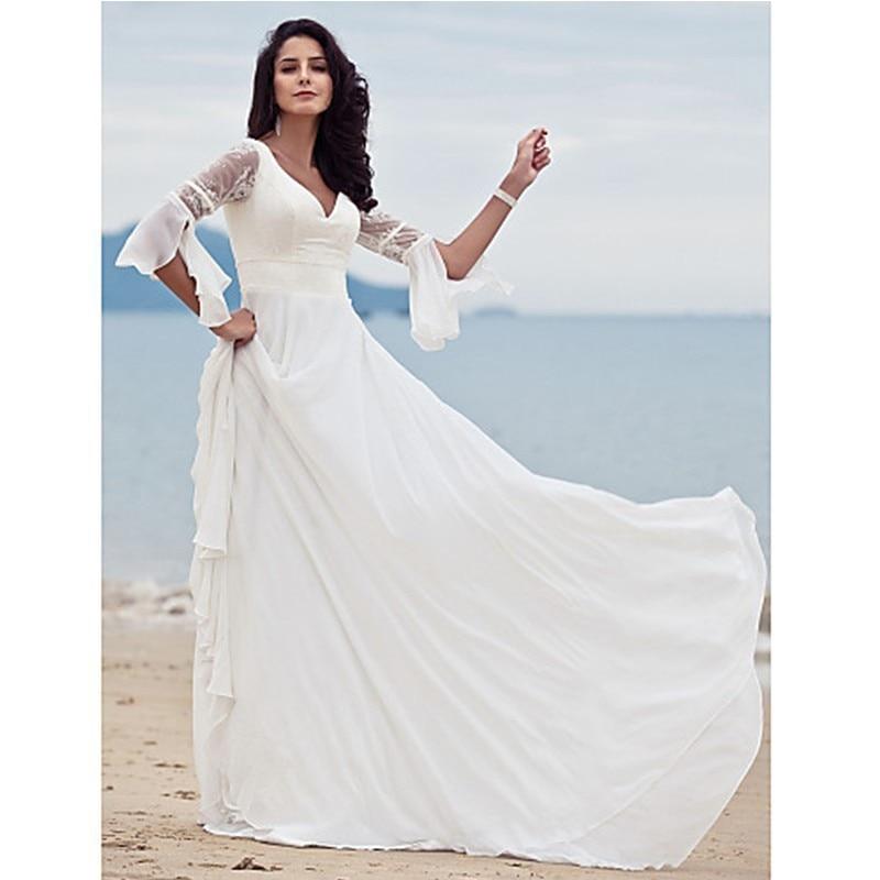 Morning Robe De Mariee 2018 Elegant Long Sleeve Bridal Gown Lace Chiffon Vestido De Noiva Casamento Mother Of The Bride Dresses