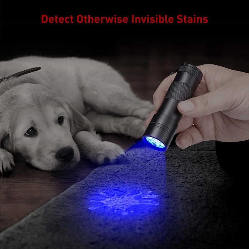Luz preta uv lanterna 12 leds 395nm ultravioleta detector de urina tocha linterna para cão/gato/animal de estimação urina & manchas secas