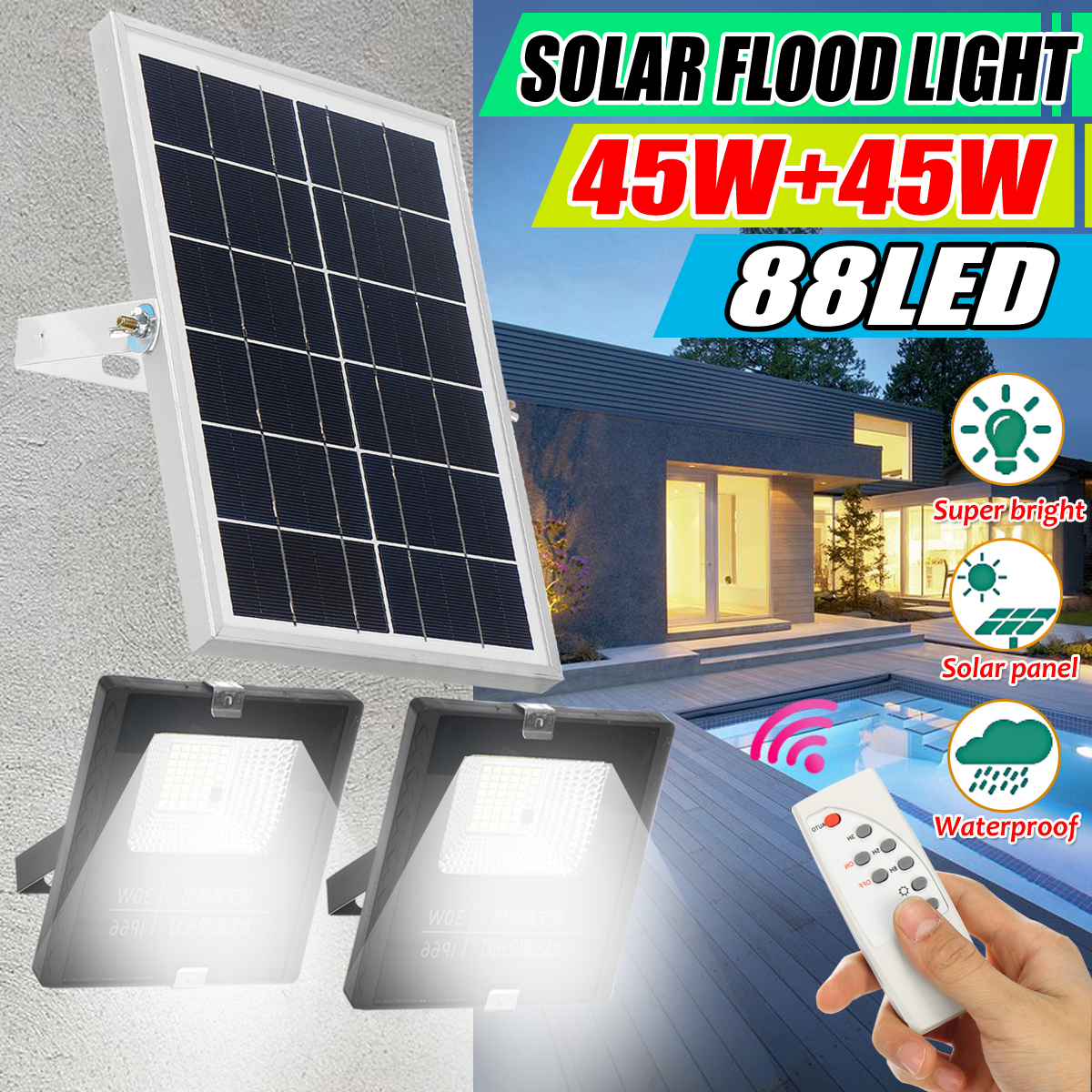 45w+45w Solar Floodlight Led Portable Spotlight Floodlight Outdoor Street Garden Light Waterproof Wall Lamp With Remote Control