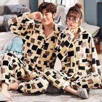 Plus size L 6XL 7XL 8XL Winter women thick flannel sleepwear sets women Patchwork coral fleece men big Pajama warm Sets 24 color