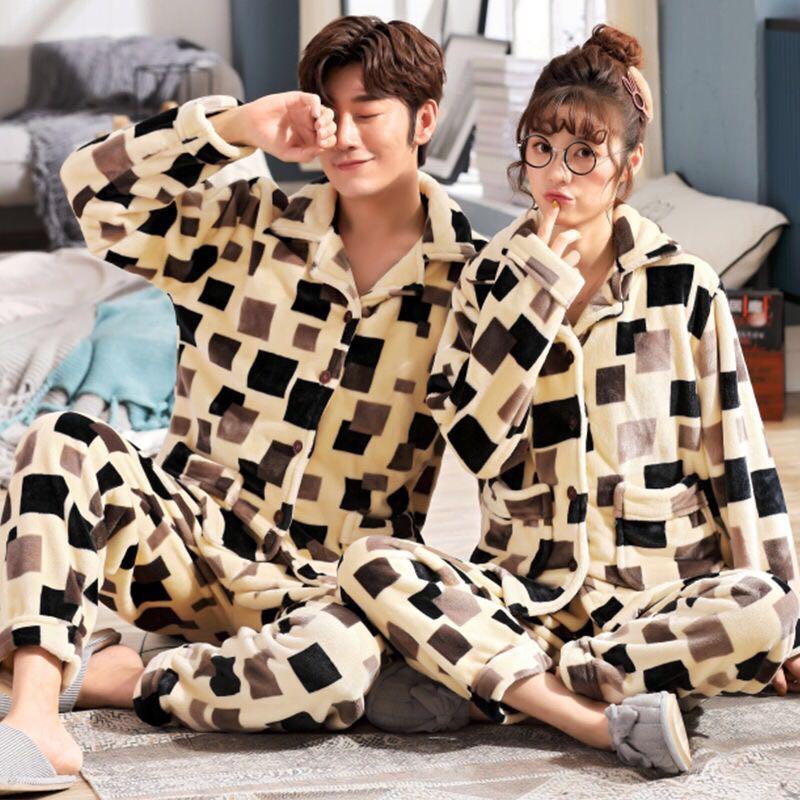 Plus Size L-6XL 7XL 8XL Winter Women Thick Flannel Sleepwear Sets Women Patchwork Coral Fleece Men Big Pajama Warm Sets 24 Color