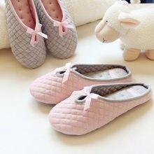 Adorável bowtie inverno mulher casa chinelos para o quarto interior casa fundo macio algodão quente sapatos adultos convidados apartamentos pantofole