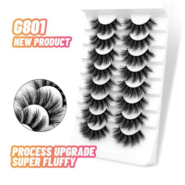 3D Mink Lashes 5/8/10 Pairs Natural False Eyelashes Fluffy Soft Wispy Volume Dramatic Long Cross Eyelash Extension Makeup 3