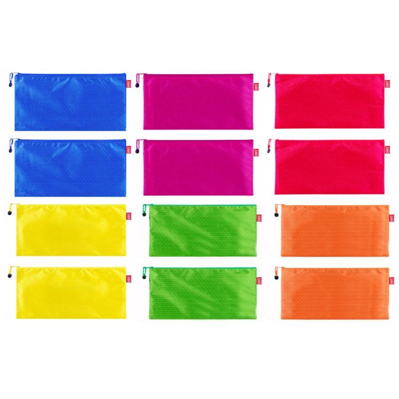 12 Pieces 6 Colors Pencil Pouch Zipper File Bags Waterproof Plastic Double Layer For Pen Bag Cosmetics Supplies Travel Accessori