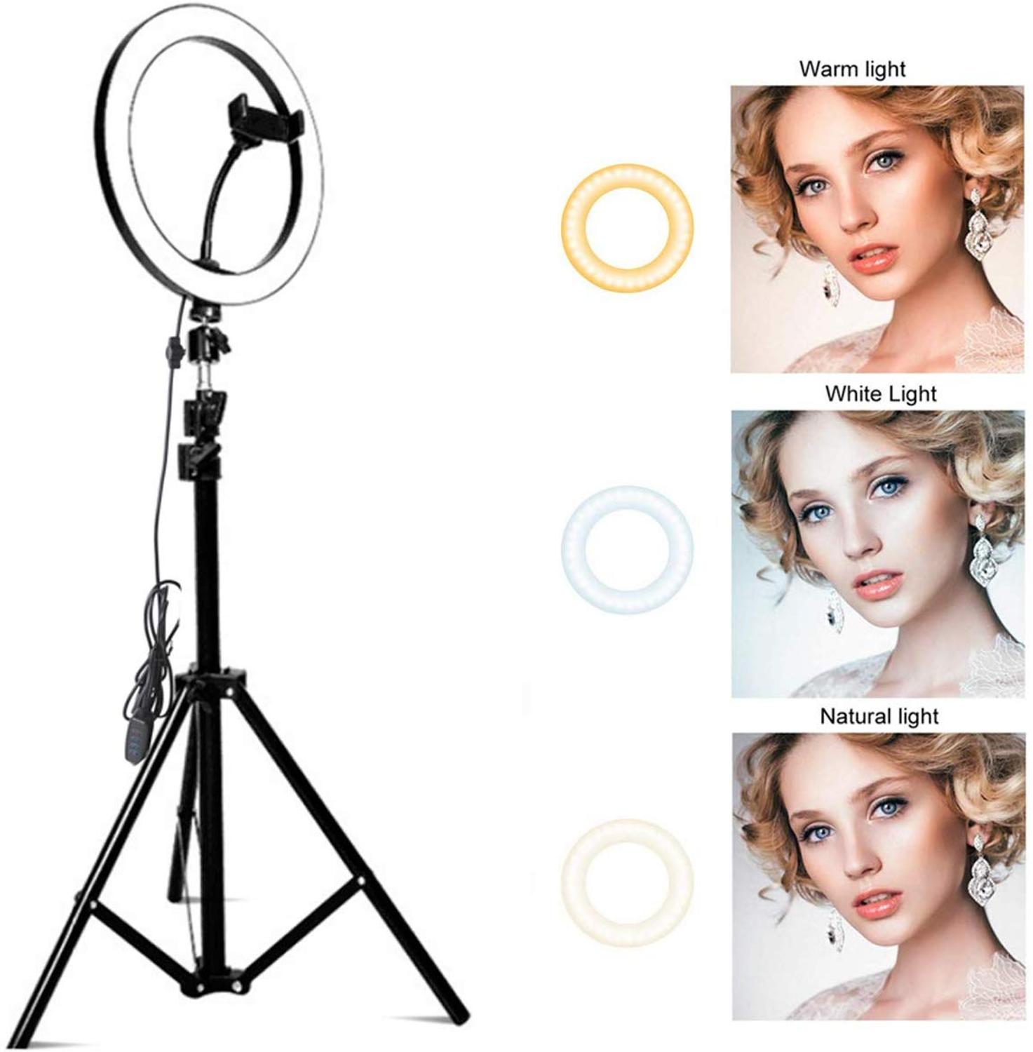 Zayex Video Light Dimmable LED Selfie Ring Light USB Ring Lamp Photography Light With Phone Holder For Makeup Youtube