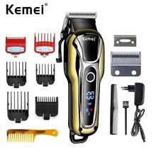 Kemei 1990 şarj edilebilir kesme profesyonel saç makası erkekler elektrikli tıraş makinesi kuaför saç kesme makinesi saç kesimi aksesuarları