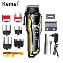 Kemei 1990 recarregável clipper aparador de cabelo profissional dos homens barbeador elétrico barbeiro máquina corte cabelo acessórios