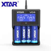 Xtar VC4 Pin Sạc LCD Củ Sạc USB Dành Cho 10440/14500/18350/17500/18500/18700/ 21700/20700/18650 Rechargerable Pin Sạc