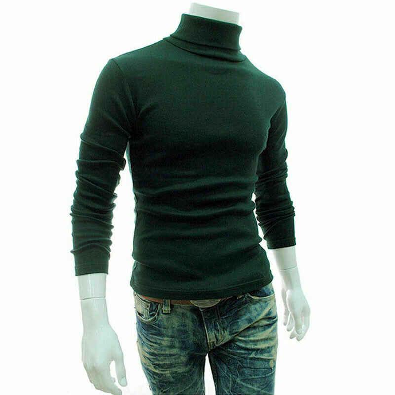 Zimowy gruby ciepły sweter z kaszmiru mężczyźni golf męskie swetry Slim dopasowany sweter mężczyźni klasyczna wełniana dzianina Pull Homme
