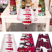 QIFU 35x180cm Linen Christmas Table Runner Decorations Snowman Elk Xmas Tree Ornaments Cloth