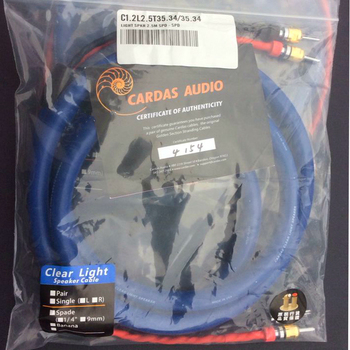 DHL Shipping Cardas Clear Light speaker cable with banana plugs spade plug 2.5m pair