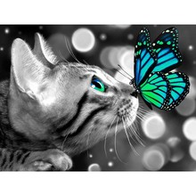 Full Square Diamond Painting Animal 5D DIY Cat butterfly Cross Stitch Mosaic Resin Embroidery Home Decor Gift