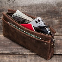 Men Cosmetic Bag Genuine Leather Fashion Male Makeup Travel