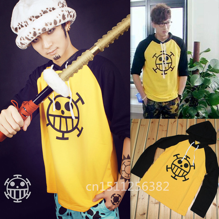 Anime one piece Trafalgar Law Hoodie Jacket Cosplay Costume Hooded Sweatshirt Long Sleeve Cotton T Shirt Men XXXL Free Shipping