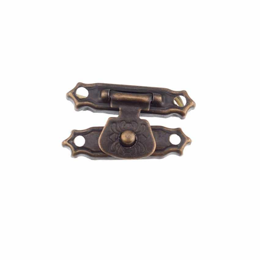 Cerrojos de Grabado en relieve de bronce antiguo de 41 MM para cerradura con bisagras de lat/ón de 24 MM y tornillos para gabinete de caja de joyer/ía de madera decorativos