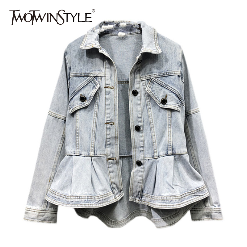 TWOTWINSTYLE Casual Solid Denim Coat For Women Lapel Long Sleeve Patchwork Pockets Straight Jackets Females Spring Fashion Style