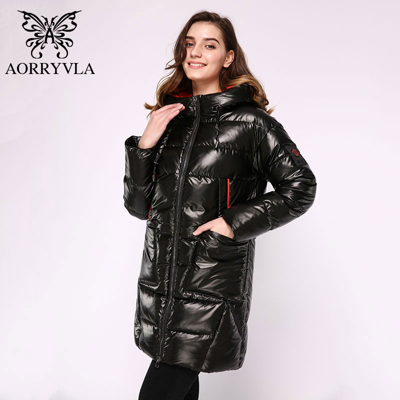 Image 4 - AORRYVLA 2019 Winter Womens Fashion Jacket Long Women Down  Jacket Thick Warm Hooded Coat Female Parka Winter Jacket CasualParkas