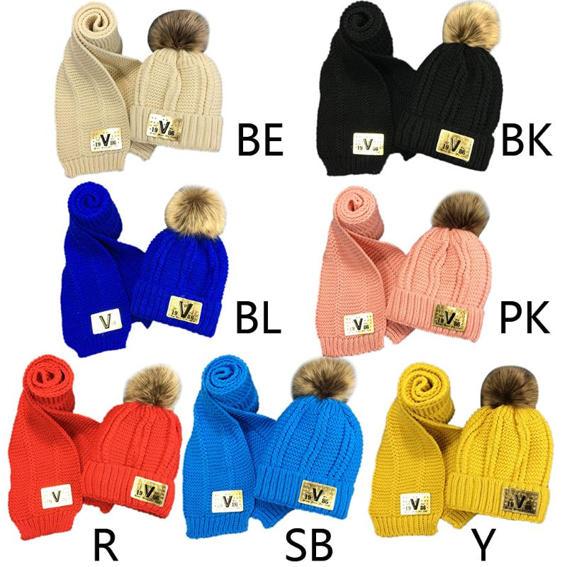 THINKTHENDO Toddler Kids Winter Chunky Crochet Pompom Warm Lining Beanie Hat Long Scarf Set