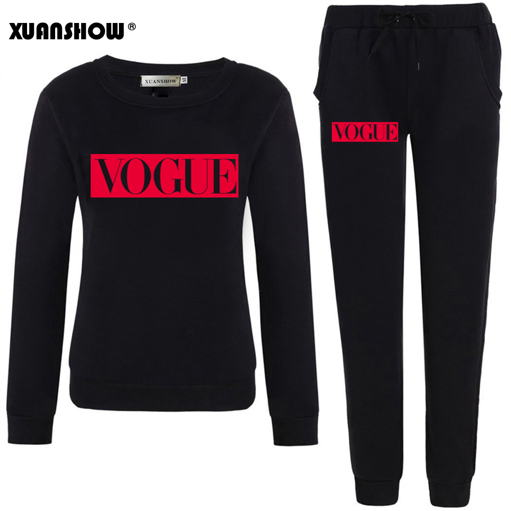 XUANSHOW Outfits 2019 Autumn Winter Women's Suit VOGUE Letter 0-Neck Fleece Keep Warm Clothes Sweatshirt + Long Pant 2 Piece Set