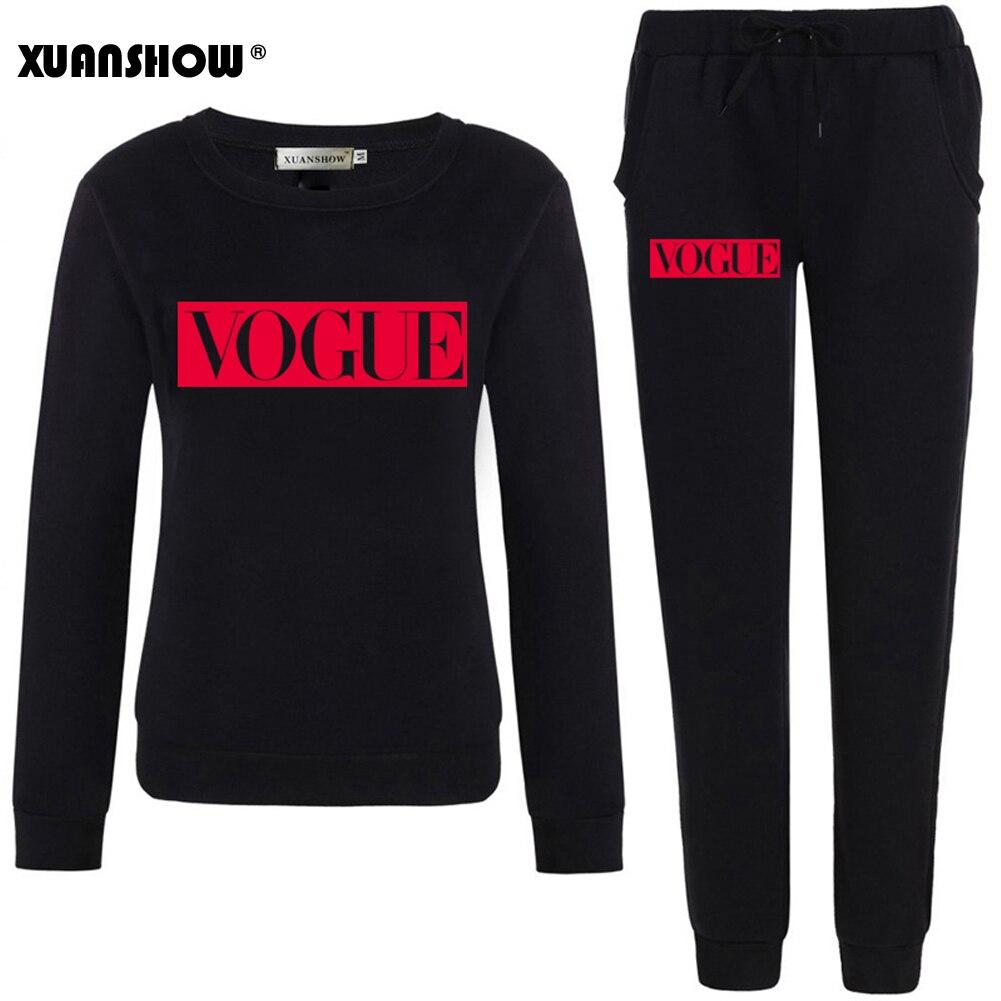 >XUANSHOW <font><b>Outfits</b></font> 2020 Autumn Winter Women's Suit VOGUE Letter 0-Neck Fleece Keep Warm <font><b>Clothes</b></font> Sweatshirt + Long Pant 2 Piece Set