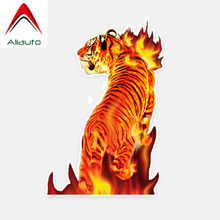 Aliauto Personalized Car Sticker Flame Tiger Accessories PVC Decal Cover Scratches for Peugeot Mercedes Benz Subaru ,15cm*10cm(China)