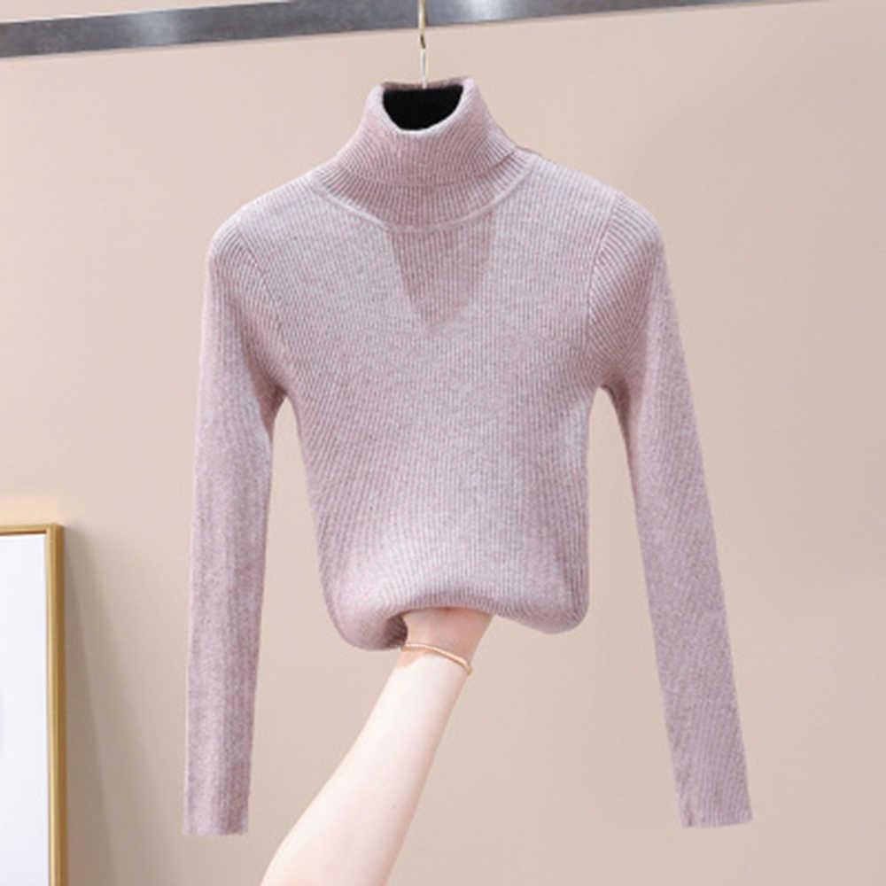 2019 가을 겨울 여성 니트 터틀넥 스웨터 소프트 폴로 넥 점퍼 패션 슬림 femme 탄력 풀오버