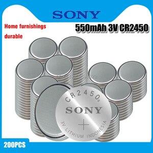200 шт. оригинальный SONY CR2450 кнопочный аккумулятор 3 в литиевые батареи CR 2450 для часов пульт дистанционного управления игрушечным компьютером ...