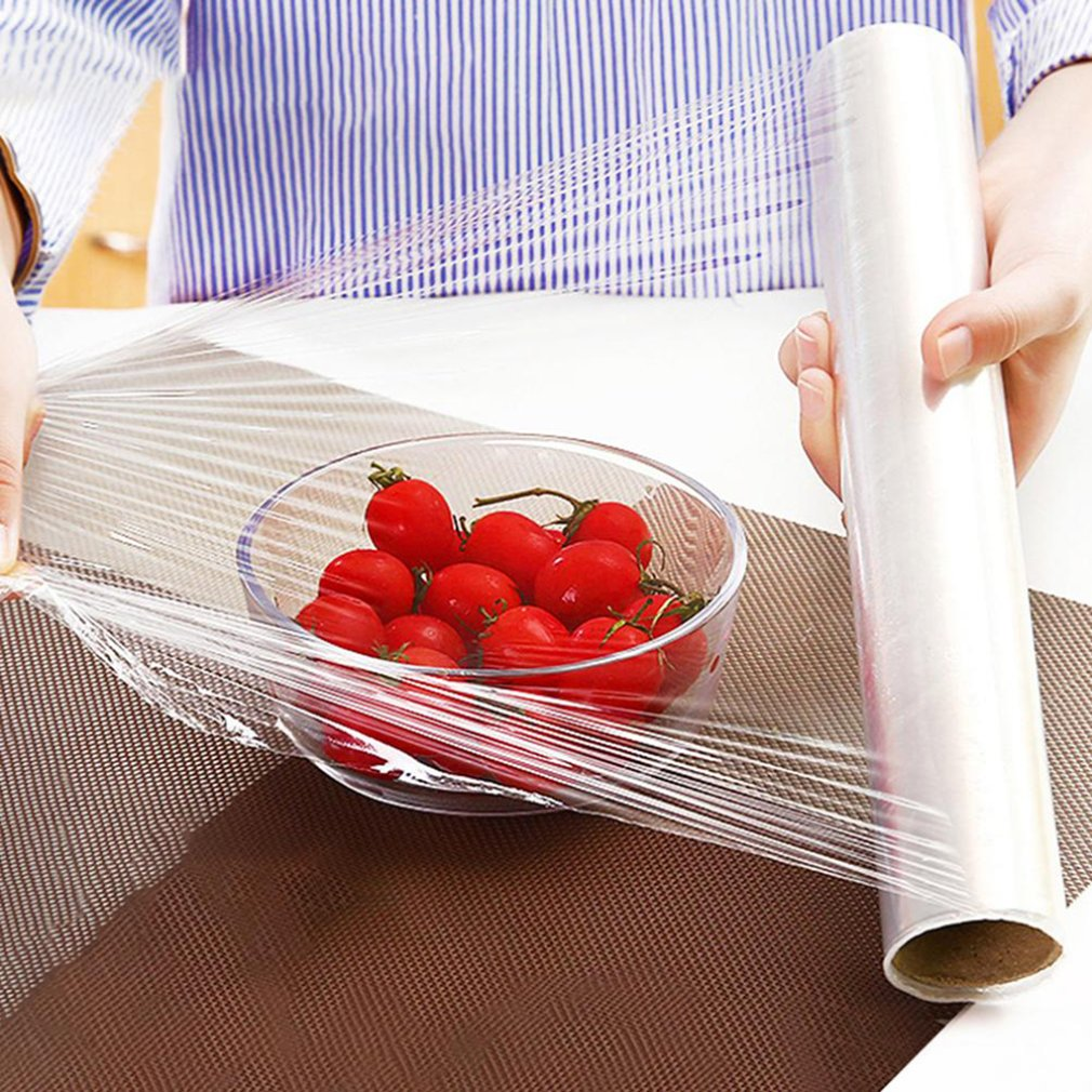 Kitchen Food Disposable Plastic Wrap For Fruit Vegetable Cling Film Refrigerator Packaging Film 1 Roll